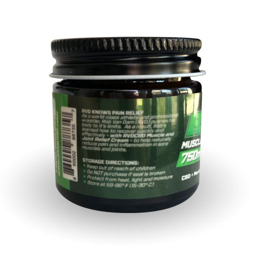 RVDCBD 750mg Muscle + Joint Relief Cream Topical – 1 Fl. Oz. (Left View)